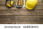 building helmet safety glasses...   Shutterstock . vector #668828401