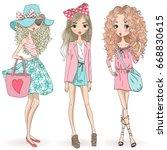 Stock vector three hand drawn beautiful cute cartoon summer girls vector illustration 668830615
