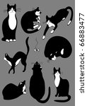 Stock vector the complete set of cats of black color 66883477