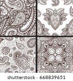 floral mehendi pattern ornament ...   Shutterstock .eps vector #668839651