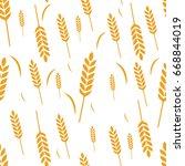 pattern wheat grain harvest... | Shutterstock .eps vector #668844019