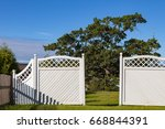 White Garden Wooden Fence And...