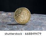 twenty euro cents  spain 2002. | Shutterstock . vector #668849479