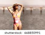 super model girl with blond...   Shutterstock . vector #668850991