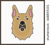 icon with sheepdog. vector... | Shutterstock .eps vector #668855101