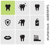 teeth care icons | Shutterstock .eps vector #668858491