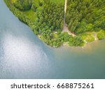 aerial view of a lake and... | Shutterstock . vector #668875261