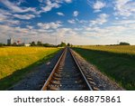 sunset on the abandoned railway ...   Shutterstock . vector #668875861