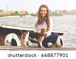 taking care of pet. horizontal... | Shutterstock . vector #668877901