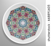 decorative plate with round... | Shutterstock .eps vector #668891605