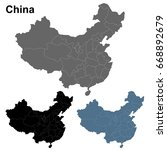 detailed china map outline in... | Shutterstock .eps vector #668892679