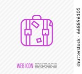 suitcase travel line vector icon | Shutterstock .eps vector #668896105