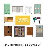 vector furniture set elements.  ...