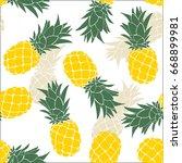 pineapple seamless pattern....   Shutterstock .eps vector #668899981