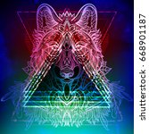 hipster boho chic wolf on magic ... | Shutterstock .eps vector #668901187