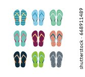 summer flip flops set isolated... | Shutterstock .eps vector #668911489