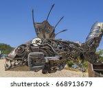 Metal Sculpture Of Fish Made O...