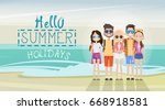 people group on summer beach... | Shutterstock .eps vector #668918581