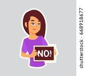 girl sad says no sticker for... | Shutterstock .eps vector #668918677
