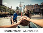 two street basketball players... | Shutterstock . vector #668921611