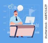 business man sitting desk... | Shutterstock .eps vector #668921629