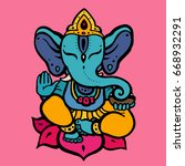 hindu god ganesha. hand drawn... | Shutterstock .eps vector #668932291