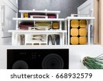 top view of organized kitchen... | Shutterstock . vector #668932579