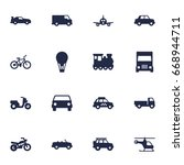 set of 16 transport icons set... | Shutterstock .eps vector #668944711