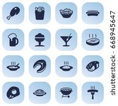 Set Of 16 Food Icons Set...
