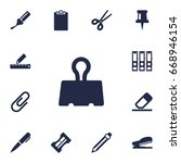 set of 13 instruments icons set.... | Shutterstock .eps vector #668946154