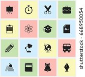 set of 16 editable education... | Shutterstock .eps vector #668950054