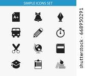 set of 12 editable education... | Shutterstock .eps vector #668950291