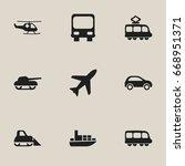 set of 9 editable shipment... | Shutterstock .eps vector #668951371