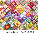 colored gift boxes with... | Shutterstock . vector #668955451