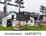 Small photo of OTTAWA - JUNE 29, 2017: Teleprompter for Mitsou Gélinas who is rehearsing her lines on the giant stage with her co-host Sandra OH for Canada 150 celebration Saturday.