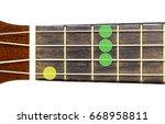 Small photo of ukulele chord Ab major 7 or AbM 7 on white background, isolate
