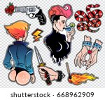 set of cute bad girl  crime and ... | Shutterstock .eps vector #668962909