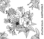 doodle floral drawing seamless... | Shutterstock . vector #668964865