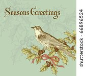 vintage christmas card with a... | Shutterstock .eps vector #66896524