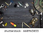 fishing rods and reels  fishing ... | Shutterstock . vector #668965855