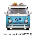 vintage van. surfer style.... | Shutterstock .eps vector #668975551