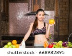 healthy woman happy with... | Shutterstock . vector #668982895