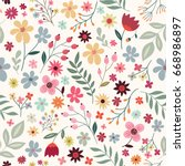 Stock vector hand drawn floral seamless pattern with colorful flowers on white background 668986897