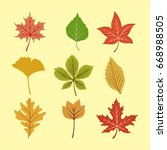 colorful autumn leave set | Shutterstock .eps vector #668988505