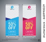 roll up big sale banner... | Shutterstock .eps vector #668990029