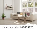 white room with sofa and green... | Shutterstock . vector #669005995