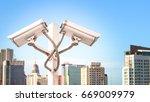 surveillance cctv camera and... | Shutterstock . vector #669009979