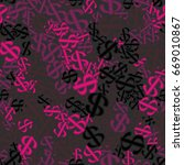 seamless pattern. dollar signs... | Shutterstock .eps vector #669010867