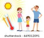 people have heatstroke  concept ... | Shutterstock .eps vector #669012091