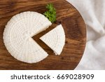 top view on sliced round white...   Shutterstock . vector #669028909
